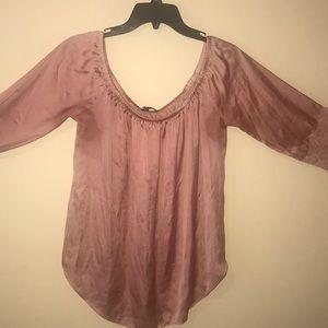Off shoulder rose gold blouse